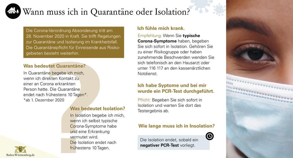 Wann muss ich in Quarantäne oder Isolation?