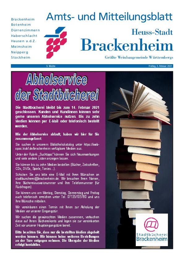 Amts- und Mitteilungsblatt der Stadt Brackenheim als pdf zum Download